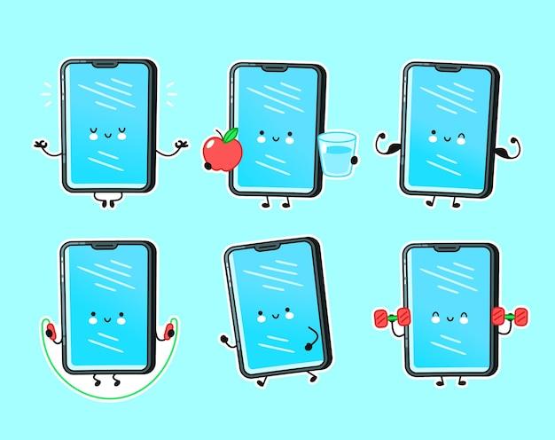 귀여운 행복 스마트 폰, 휴대 전화 피트니스 문자 집합 컬렉션. 벡터 플랫 라인 만화 귀여운 캐릭터 그림 아이콘입니다. 외딴. 피트니스 스마트 폰 번들