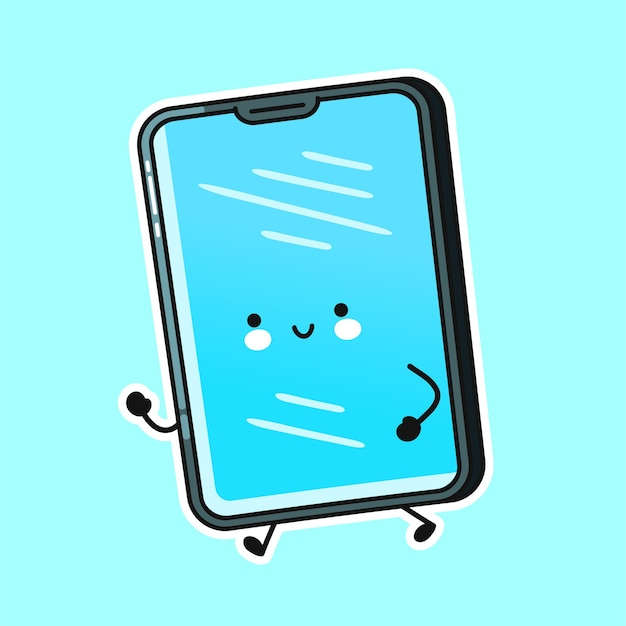 Cute happy smartphone mobile phone run character
