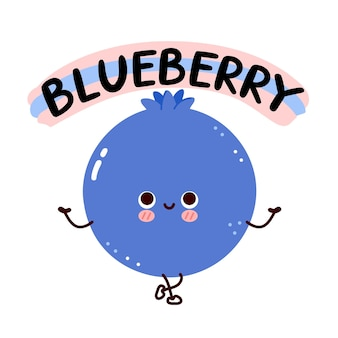 Cute happy smile funny blueberry with quote