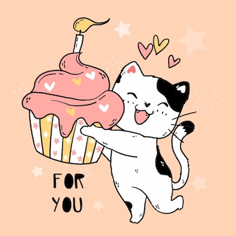 Cute happy smile white cat hold pink muffin with birthday candle