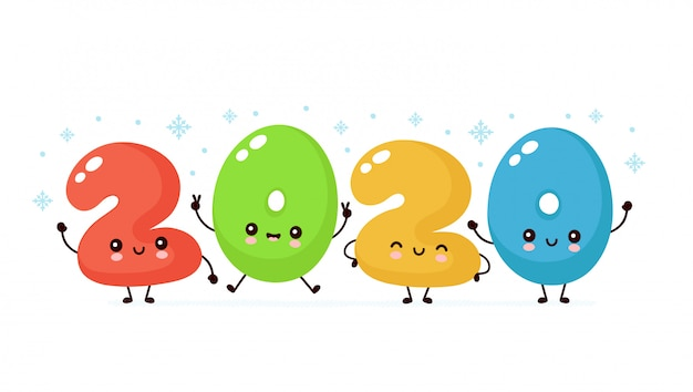 Cute happy smiling 2020 new year numbers banner