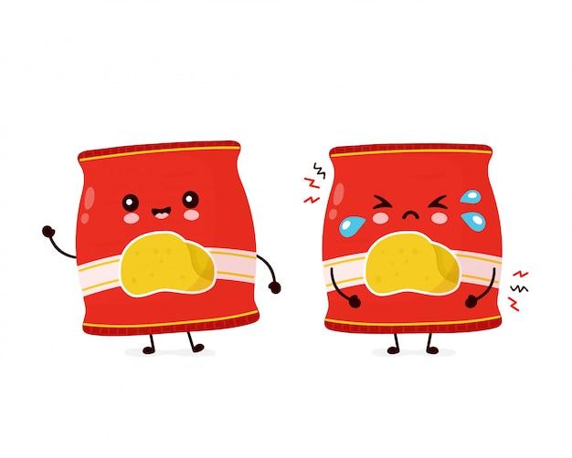 Мило счастливых улыбок и грустный крик чипсов пакет. дизайн значка иллюстрации персонажа из мультфильма. изолированный на белой предпосылке