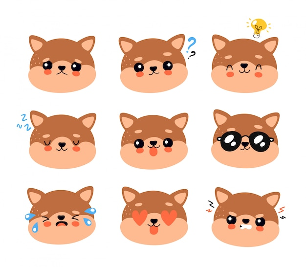 Симпатичные счастливые улыбающиеся и грустные собаки набор символов. собака. концепция персонажа щенка