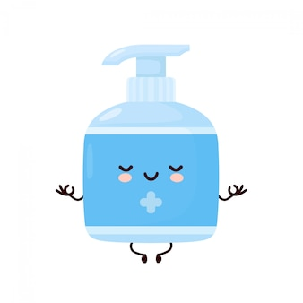 Cute happy smiling antiseptic bottle meditate. cartoon character illustration icon design.isolated on white background