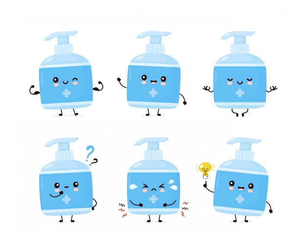 Cute happy smiling antiseptic bottle set collection. cartoon character.