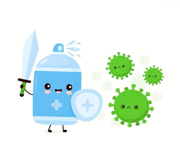 かわいい幸せな笑顔の消毒スプレーボトルはウイルスを殺します。漫画キャラクターイラストアイコンデザイン。白い背景で隔離