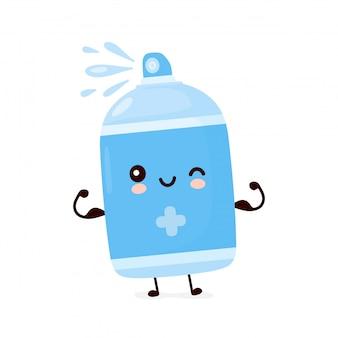 かわいい幸せな笑顔の消毒スプレーボトルは筋肉を示しています。漫画のキャラクターイラストアイコンデザイン。分離されました。
