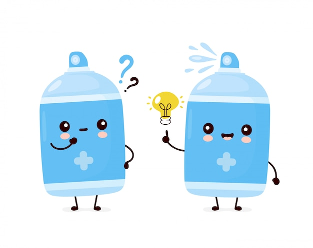 Cute happy smiling antiseptic spray bottle with question mark and idea lightbulb. cartoon character illustration icon design.isolated on white background