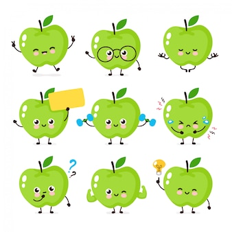 Cute happy smiling apple character set collection.