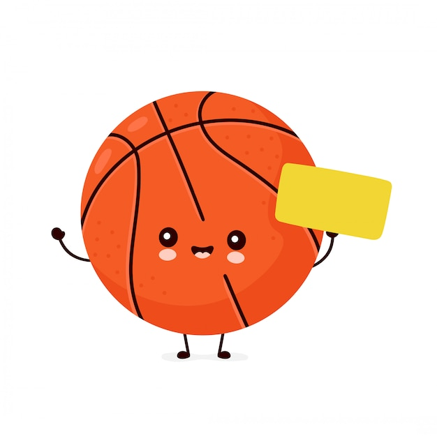Милый счастливый улыбающийся баскетбольный мяч