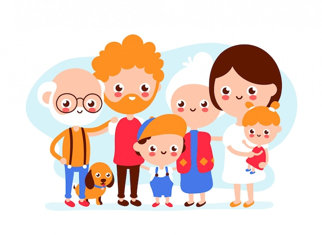 Cute happy smiling big family