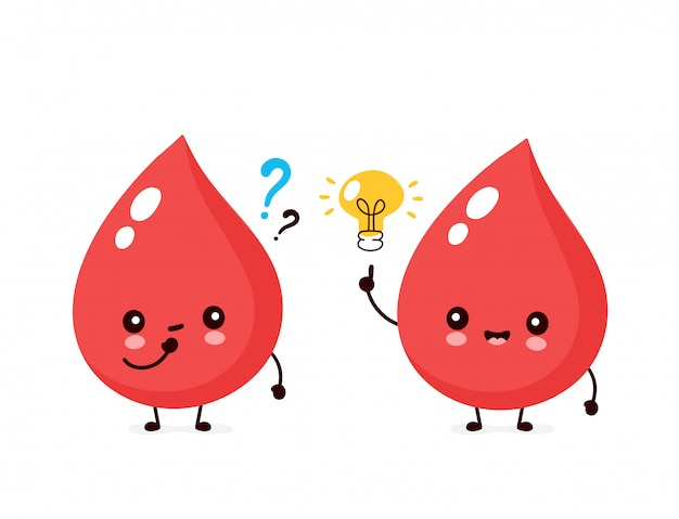 Cute happy smiling blood drops with question mark and lightbulb