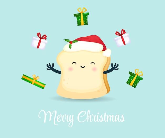 Милый счастливый улыбающийся хлеб с рождественским подарком на рождественский праздник premium векторы