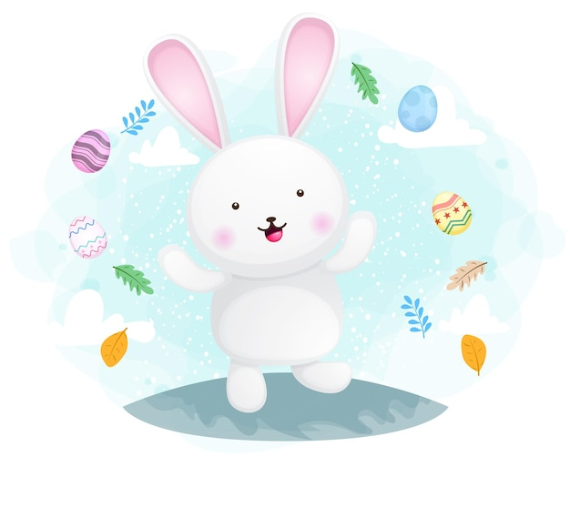 Cute happy smiling bunny easter day celebration