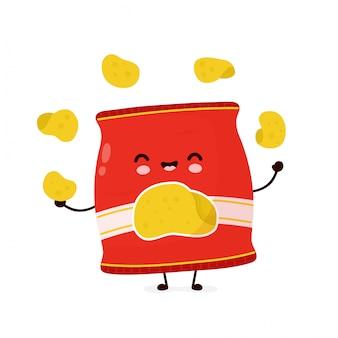 Мило счастливые улыбающиеся фишки пакет жонглирует. дизайн значка иллюстрации персонажа из мультфильма. изолированный на белой предпосылке