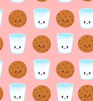 Cute happy smiling chocolate chip cookie and glass of milk seamless pattern