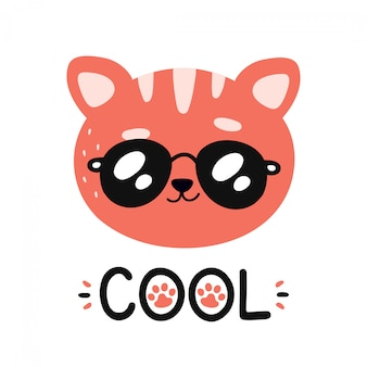 Cute happy smiling cool cat in sunglasses character.