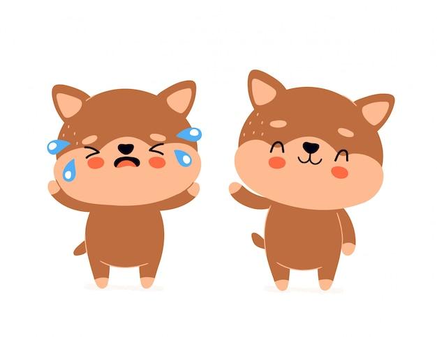 かわいい幸せな笑顔の犬と悲しい叫び文字。ベクター近代的なトレンディなフラットスタイル漫画イラストデザイン。白で隔離。犬、子犬の健康と不健康なキャラクターのコンセプト