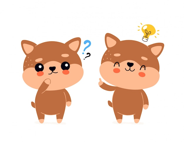 Cute happy smiling dog with question mark and lightbulb character.