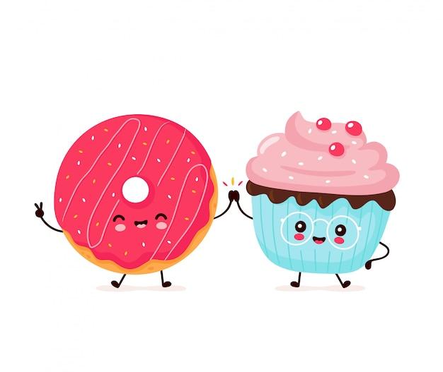かわいい幸せな笑顔のドーナツとカップケーキ。フラット漫画キャラクターイラストデザイン。白い背景で隔離。ドーナツ、カップケーキ、ベーカリーメニューのコンセプト