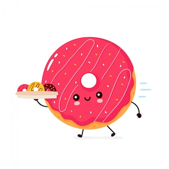 Милый счастливый улыбающийся пончик бежит с коробкой доставки. плоский дизайн иллюстрации персонажа из мультфильма. изолированный на белой предпосылке. пончик, концепция меню доставки хлебобулочных