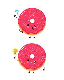 Милый счастливый улыбающийся пончик с вопросительным знаком и лампочкой идеи. плоский дизайн иллюстрации персонажа из мультфильма. изолированный на белой предпосылке. пончик, концепция меню пекарни