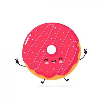 Милый счастливый улыбающийся пончик. мультипликационный персонаж.