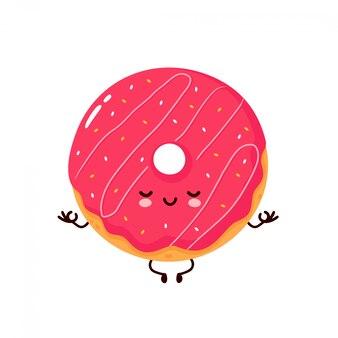 Милый счастливый улыбающийся пончик медитировать в позе йоги. мультипликационный персонаж.