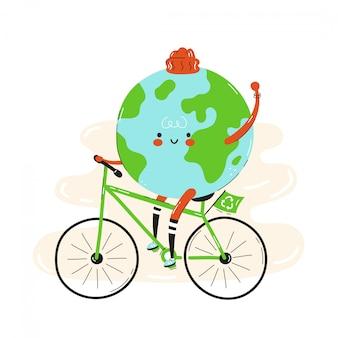 귀여운 행복 미소 지구 행성 승마 자전거입니다. 흰색에 격리. 벡터 만화 캐릭터 일러스트 레이 션 디자인, 간단한 평면 스타일. 자전거 캐릭터, 에코 운송 개념에 지구