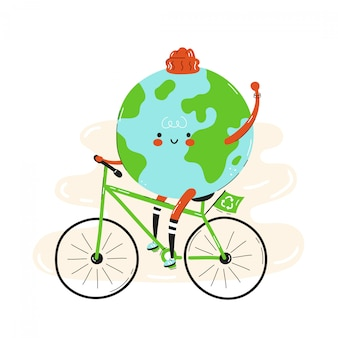 Cute happy smiling earth planet riding bicycle.isolated on white . vector cartoon character illustration design,simple flat style. earth on bicycle character, eco transportation concept