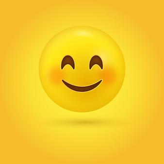 笑顔の目とバラ色のフラッシュされた頬のイラストとかわいい幸せな笑顔の絵文字顔