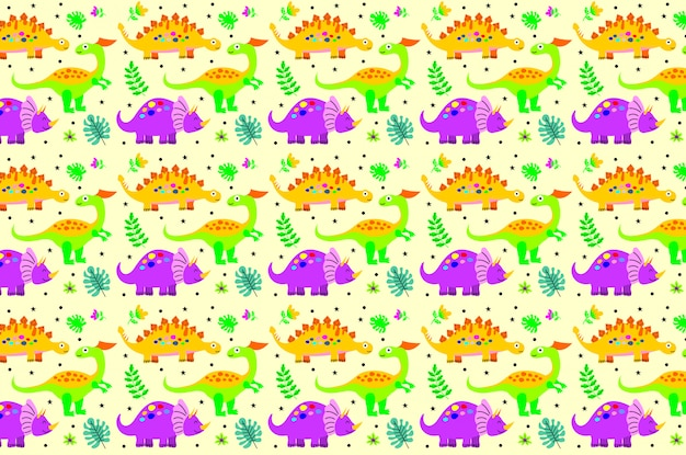 Cute happy smiling funny dinosaur seamless pattern