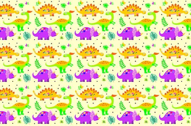 かわいい幸せな笑みを浮かべて面白い恐竜のシームレスパターン