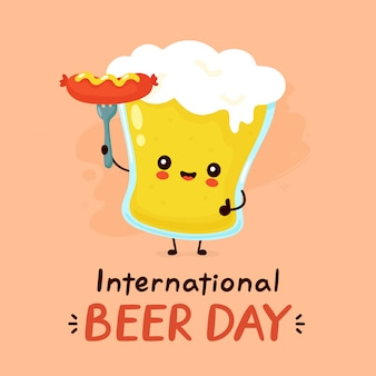 Cute happy smiling glass of beer with sausage. flat cartoon character illustration icon design. international beer day card