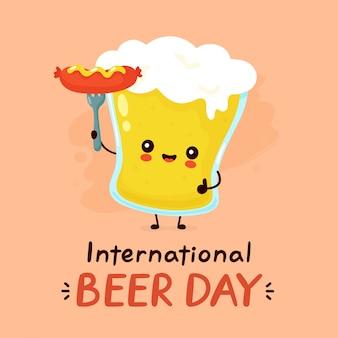 ソーセージとビールのかわいい幸せな笑顔のグラス。フラット漫画キャラクターイラストアイコンデザイン。国際ビールデーカード