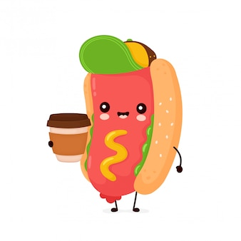 Cute happy smiling hot dog with coffee cup.