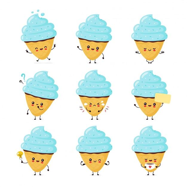 Мило счастливые улыбающиеся мороженое конус набор. плоский мультфильм характер иллюстрации. изолированные на белом фоне. конус мороженого, концепция десертного меню