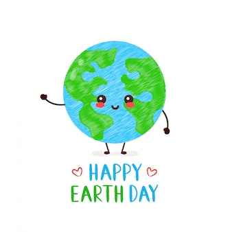 Cute happy smiling kawaii earth planet. happy earth day card. hand drawing style illustration card desgin. isolated on white . spring,earth day,forest,go green,ecology