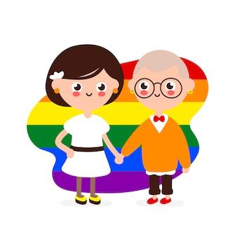 사랑에 귀여운 행복 한 미소 레즈비언 커플입니다. 레즈비언 여자 함께 손을 잡으십시오. 현대 평면 스타일 일러스트 아이콘입니다. 흰색에 격리. 동성애 가족, 게이, lgbtq