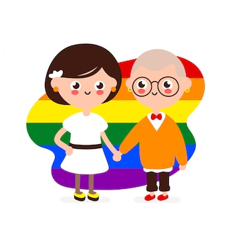 Cute happy smiling lesbian couple.lesbians woman in love together hold hands.  modern flat style illustration icon . isolated on white . homosexual family,gay,lgbtq