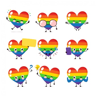Cute happy smiling lgbt heart character set collection. human rights. lgbtq. gay pride concept
