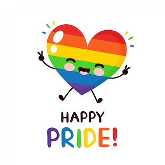 Cute happy smiling lgbt heart character.