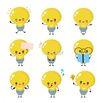 Cute happy smiling light bulb character set collection.