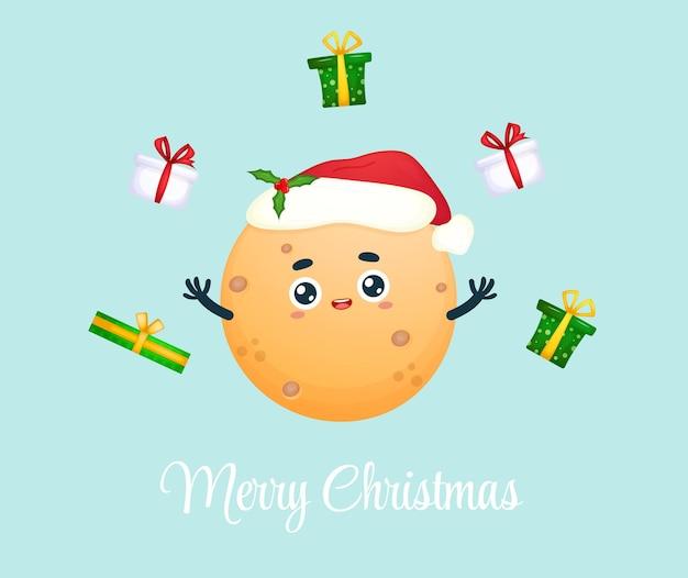 Милая счастливая улыбающаяся маленькая луна с рождественским подарком на рождественский праздник premium векторы