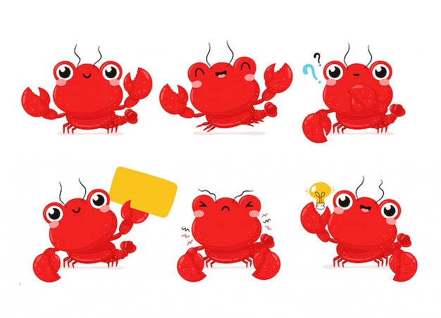 Cute happy smiling lobster set collection. cartoon character.