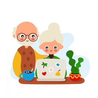 Cute happy smiling old woman and man with a laptop