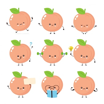 Cute happy smiling peach characters set