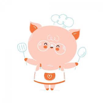 Cute happy smiling pig chef. isolated on white . vector cartoon character illustration design,simple flat style. cute pig chef card