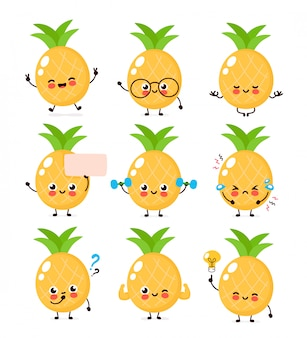 Cute happy smiling pineapple character set collection. pineapple character concept