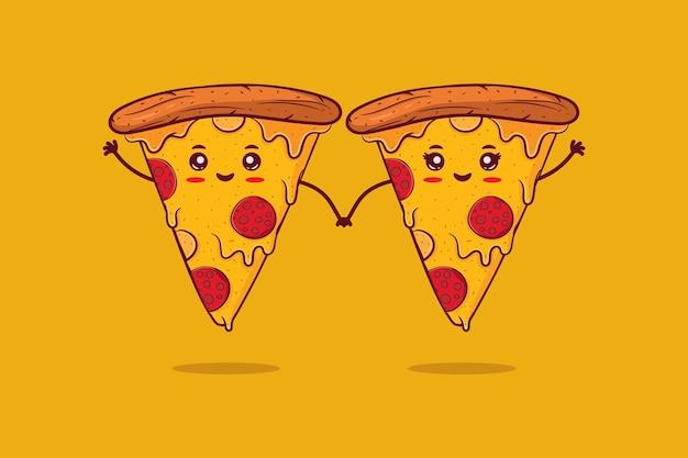 귀여운 행복 미소 피자 커플